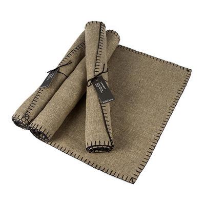 Löpare/Runner - Langett/Blanket stitching (utgående/outgoing) - Langett/Blanket stitching 46x150 cm: Natur-Svart/Nature-Black