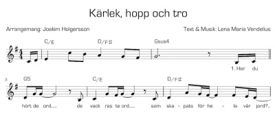 Noter/Sheet Music: Kärlek, hopp och tro/Love Is What We Need - Kärlek, hopp och tro - Svensk text/Swedish lyrics
