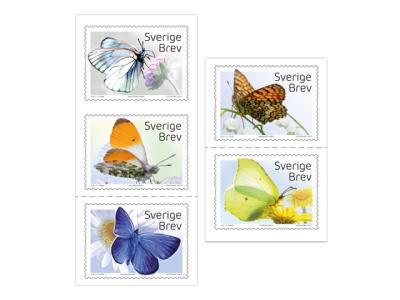 Frimärken/Swedish stamps - Inrikes häfte Fjärilar