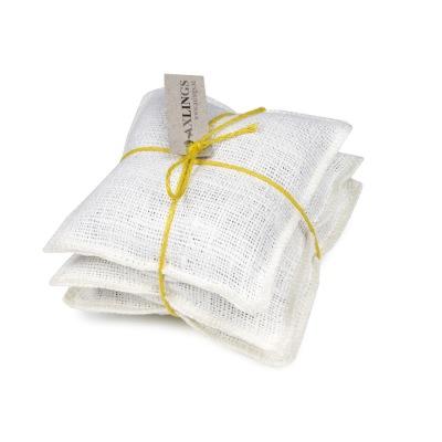 Lavendelkuddar/Lavendel bags (utgående färger/outgoing colors) - Lavendelkudde/Lavendel bag: Säckväv benvit-citron linsnöre/Burlap offwhite/citrus string