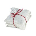 Lavendelkuddar/Lavendel bags (utgående färger/outgoing colors) - Lavendelkudde/Lavendel bag: Säckväv benvit-rött linsnöre/Burlap offwhite/red string
