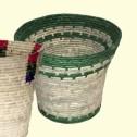 Korghantverk/Basket Crafts - Papperskorg/Litter Bin - Papperskorg/Litter Bin - Grönt mönster/Green Pattern