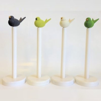 Hushållsrulleställ/Household Paper Roll Stand - Hushållsrulleställ/Household Paper Roll Stand - Vitlaserad/White glazed (Fågel ingår ej/Bird is not included)