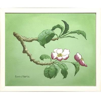 Målning/Painting: Äppelblom/Apple Blossom (grön/green) - Målning/Painting: Äppelblom/Apple Blossom (grön/green)
