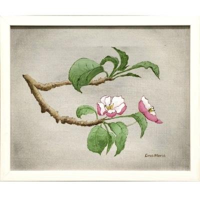 Målning/Painting: Äppelblom/Apple Blossom (grå/gray) - Målning/Painting: Äppelblom/Apple Blossom (grå/gray)