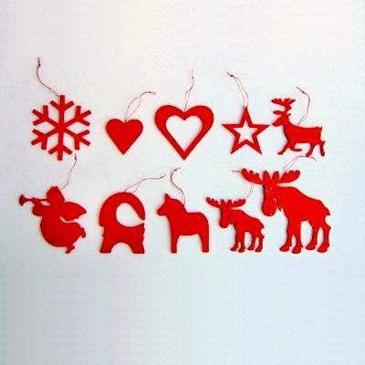Dekorationer - Julpynt i trä - Bock - Röd