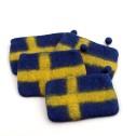 Myntbörs i tovad ull (Utgående modell) - Svenska flaggan