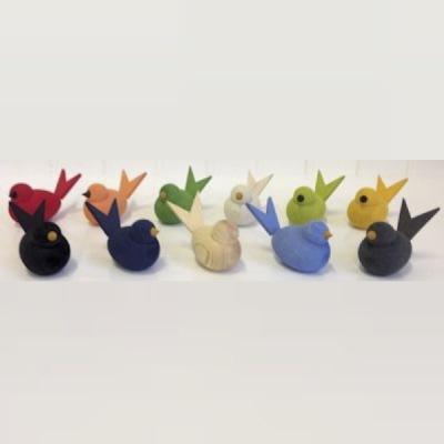 Dekorationsfigurer i trä - Fågel - Ljusblå