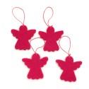 Julpynt i tovad ull - Ängel - Röd
