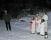 Till vänster Thorulf Wall sjungandes Staffansvisan. Till höger i bakre raden tärnorna Rebecka Gabrielson och Matilda Hultgren, främre raden luciorna Lovisa Gabrielson och Moa Hjort samt tärnan Maja Ko