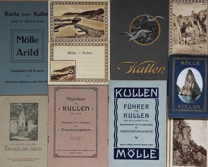 Några av de turistbroschyrer och vykortssamlingar som Peter P. Lundh gav ut.