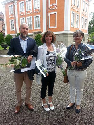 2017 års samtliga Nils Karleby-stipendiater vid utdelningsceremonin på Kulturen i Lund:  ortnamnsforskaren Ola Svensson, historikern Bonnie Clementsson och etnologen Caroline Ranby.