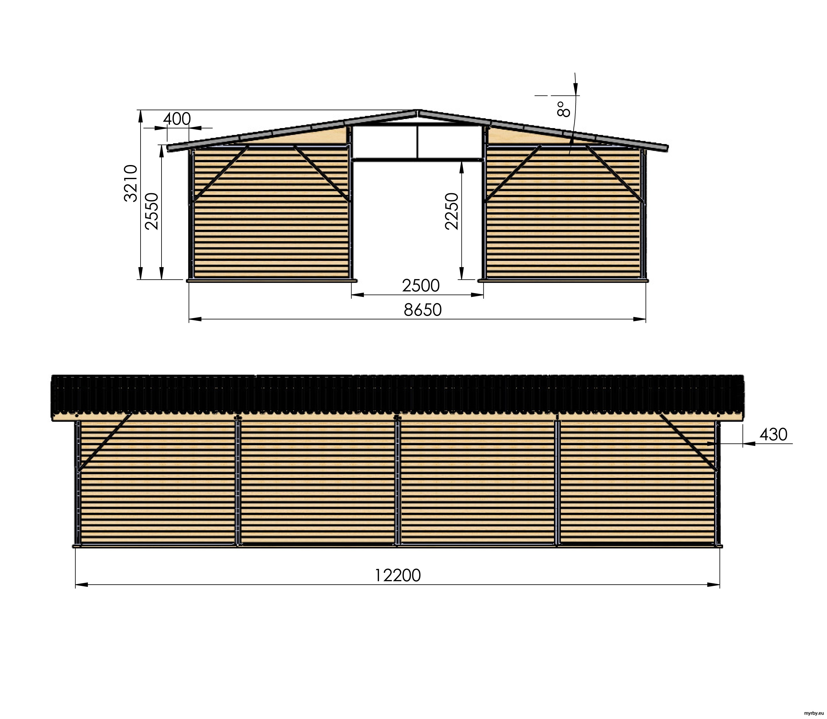 14209-17 Ligghall 104 m² Mått