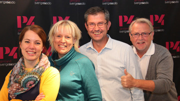 P4 tränar gänget med Emelie, Annelie, Ricky och Leif.    Foto: Janne Mårdberg/Sveriges Radio