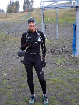 Lyckas få till ett leende, trots att jag var helt slutkörd efter att sprungit med mjölksyra närmare 7 km...