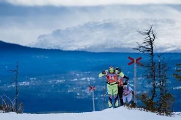 Härlig skidåkning på Årefjällsloppet. Här kommer täten, jag låg en bit längre bak...