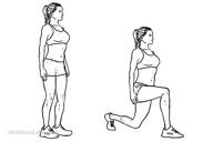 Utfallssteg. Se till att knät pekar rakt fram, behåll hållningen, blicken framåt. 10 vardera ben x 3