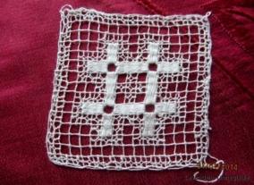 REA!  Sex fyrkanter, handgjorda, 8 cm x 8 - Utförsäljningen!  Sex stycken isättningsspetsar i knutet och trätt.