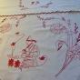 En vacker antik paradhandduk i rött och monogram, handvävd. - REA! En antik paradhanduk i rött och vitt.