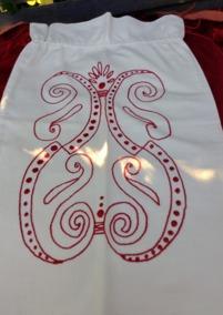 SE UPP!  En välbevarad tvättpåse med broderi i rött. - En fint broderad tvättpåsr i rött och vitt!