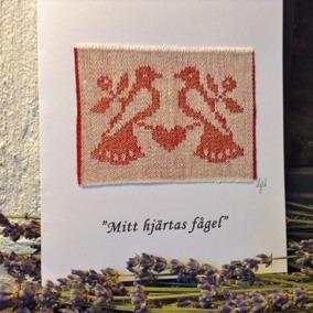 Ett vackert handvävt kort med text! - Ett mycket vackert handvävt kort i linnedamast.