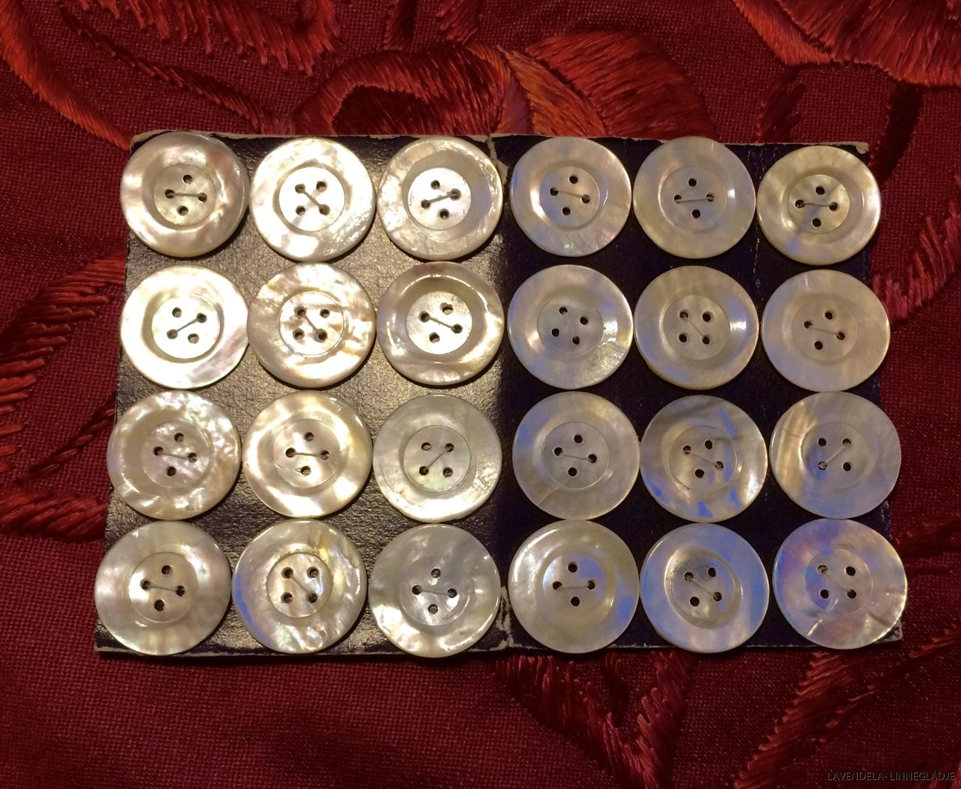 24 stycken pärlemoknappar.