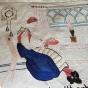 En antik bonad med en flitig knypplerska. Välbevarad! - BRA-PRIS! . En flitig knypplerska, i bästa skick!