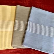 REA!   Tre fina linnedukar, blå grå och gul. Nyskick!