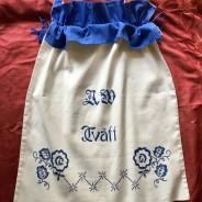 En härlig och praktisk tvättpåse i bomull, dekorativ.Mycket välbevarad!
