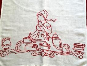 En paradhandduk i linne med broderier i rött. I fint skick! - En fin handvävd paradhandduk i linne.
