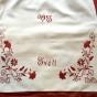 En ljuvligt vacker tvättpåse. Mästerligt broderad. Bästa skick! - En vackert handbroderad tvättpåse i rött och vitt.