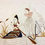 En antik vacker bonad med fransar, 172 x 62 cm i linne.