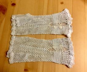 Ett par äldre handvirkade handskar! - Ett på handvirkade handskar i bomull