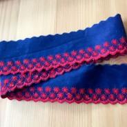 REA! Två fina blå band, över 4.5 m med röda uddbroderier!