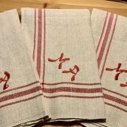 Sex riktiga handvävda handdukar i linne. Oanvända!