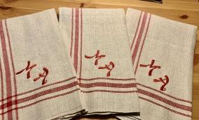 REA! Sex riktiga handvävda handdukar i linne. Oanvända! - REA!  Sju handvävda linnehanddukar!
