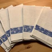 Sex vackert linneglänsande handdukar! Oanvända!