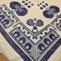 Vackraste handvävda linneduken, 180 x155 cm ! Handbroderad i blå nyanser.