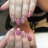 rosa med glitter