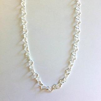 Kedja små silverhjärtan (5 mm) - 45 cm