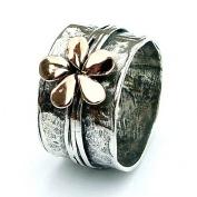Gold flower - Silverring med blomma i äkta guld