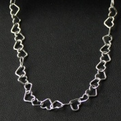 Silverhalsband hjärtan (7 mm) - 70 cm