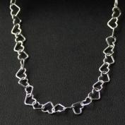 Kedja silverhjärtan (7 mm) - 45 cm