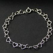 Silverarmband (7 mm) - Hjärtan