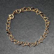 Guldförgyllda hjärtan armband