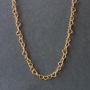 Förgyllt silverhalsband med hjärtan, 45 cm