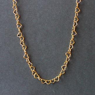 Guldförgyllda hjärtan - Halsband 45 cm