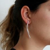 Alva - Långa silverörhängen i lite råare design
