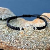Jessie black - Tufft armband med hjärta i silver