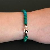 Armband - Silverankare och grönturkosa färger